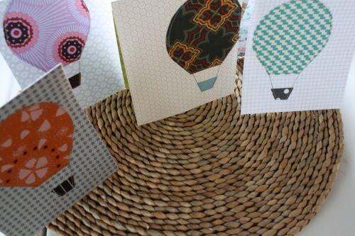 Fabric Appliqué Greeting Cards:: Angela Flicker Tutorial to make hot-air balloon motif cards! Cute! :D