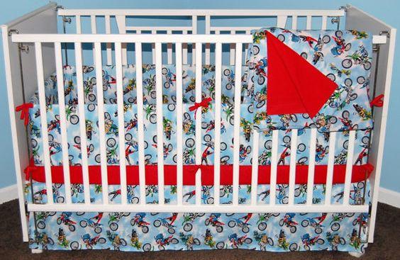 Motocross Dirt Bike Nursery Baby Crib Toddler Bed Bedding