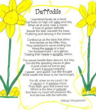 """daffodils poem by william wordsworth essay Wordsmith begins his extended metaphor in the third line of the poem, with his speaker saying, """"l saw a crowd, / a host, of golden daffodils"""" that were """"fluttering and dancing in the breeze """" (line 6."""
