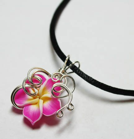 Perfume Pendant - PREMADE - Aromatherapy Wire Wrapped Pink Polymer Clay Tropical Plumeria Flower by Nixcreations, $20.00