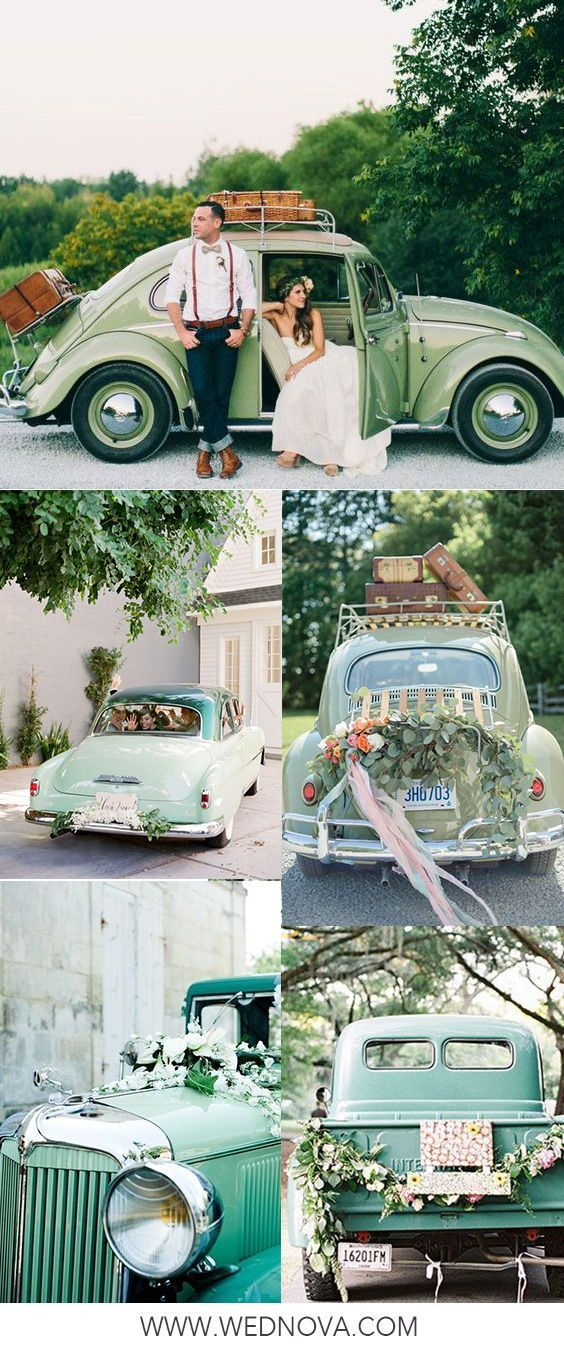15 Perfect Ways To Help You Decorate The Getaway Wedding Car Wedding Car Vintage Car Wedding Getaway Wedding