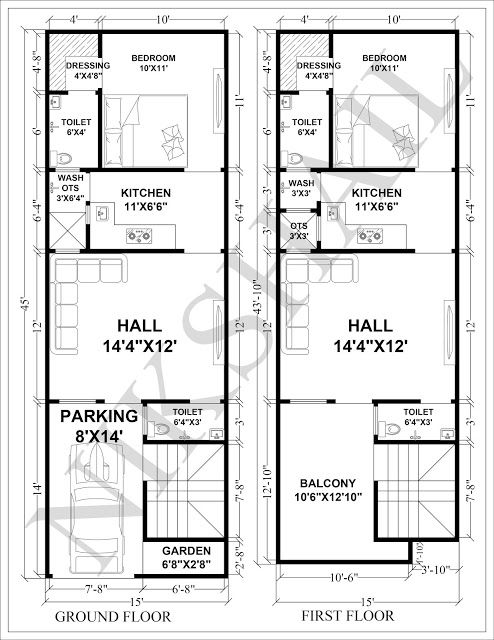 15x45 House Plan With 3d Elevation By Nikshail 2bhk House Plan Narrow House Plans Budget House Plans