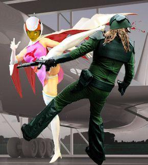 蹴りがキレイに決まった白鳥のジュンのかっこいい画像。