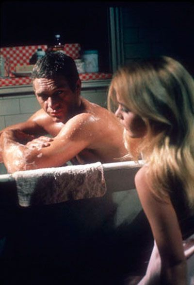 Steve McQueen with Tuesday Weld - a woman who rubs your back, and enjoys it.