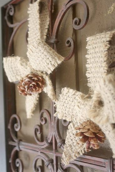 Pinecone ornaments burlap ribbon and burlap on pinterest for Burlap ribbon craft ideas
