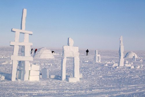 Inukshuks built from snow as part of the celebrations for Hamlet Day in Igloolik
