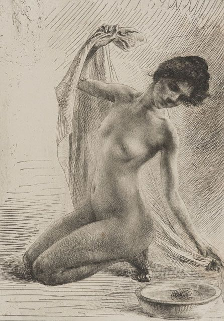 """Woman Washing Herself"", 1903, Karl Köpping, German (1848-1914), etching on paper, 9 1/4 x 6 1/2 in. Museum purchase with funds from the Benefactors Fund, 1976. 1976.2306"