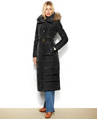 MICHAEL Michael Kors Petite Hooded Faux-Fur-Trim Belted Down Maxi