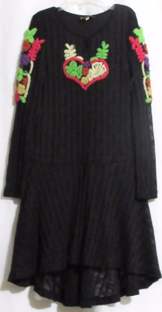 NEW Girls HANNAH BANANA Black Sweater Lined Asymmetrical Hem Dress 10 Orig $94…