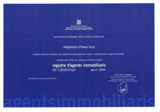 Homologacio Agents Immobiliaris de Catalunya AICAT Reconocimiento Diploma para Alejandro Perez Irus Formador Mentoring Formacion AlejandroPI