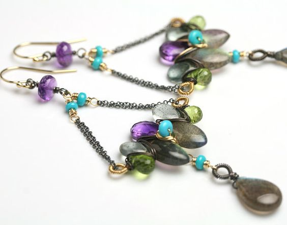 Colors: Amethyst Moss Aquamarine and Labradorite (fussjewelry)
