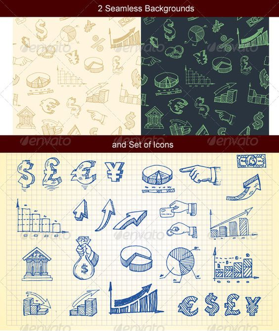 Hand-drawn finance and currency icons set and seam  #GraphicRiver         Icon set and two seamless backgrounds  	 main files: vector EPS additional: hi-res transparent PNG , hi-res JPG , hi-res PSD with all drawings on its own layer     Created: 14January12 GraphicsFilesIncluded: PhotoshopPSD #TransparentPNG #JPGImage #VectorEPS Layered: Yes MinimumAdobeCSVersion: CS Tags: arrow #arrowsign #background #bank #business #chart #currency #diagram #dollarsign #eurosign #finance #freehand #graph…
