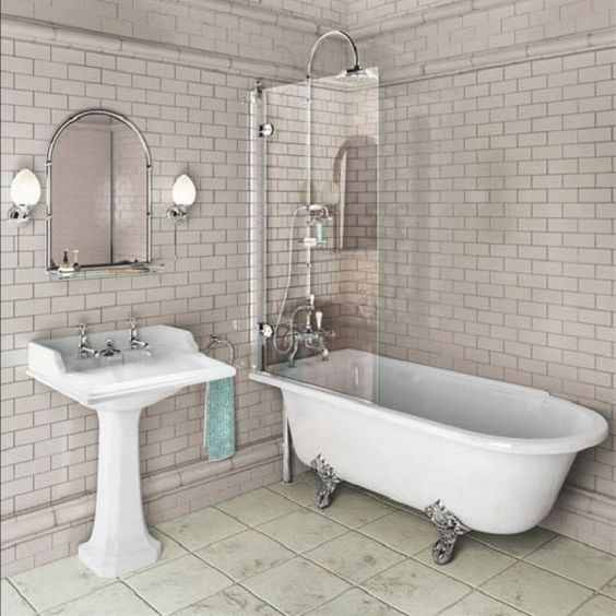 Burlington Hampton 1500 Freestanding Shower Bath - Left Hand E20 - Click Image to Close