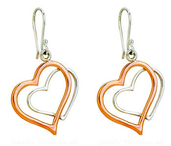 Tianguis Jackson Copper and Silver Double Heart Drop Earrings