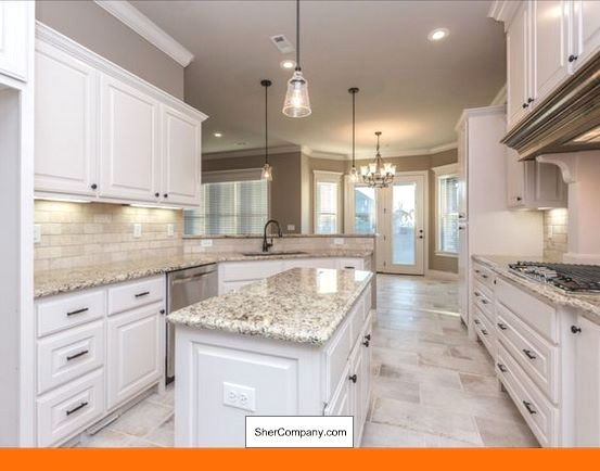 White Cabinets Light Grey Countertop And Pics Of White Cabinets With Crema Pearl Granite Tip 72465353 Cab White Tile Floor White Kitchen Floor White Kitchen