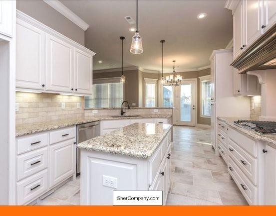 White Cabinets Light Grey Countertop And Pics Of White Cabinets With Crema Pearl Granite Tip 72465353 Cabin Travertine Backsplash White Kitchen Dark Kitchen