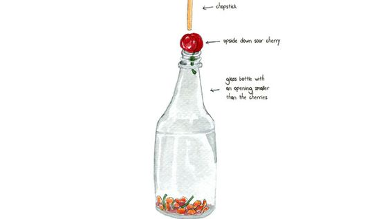 Pit Cherries Cleanly and Easily with a Chopstick and Bottle