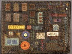 Stitch Sampler.    Artist Made Paper, Indigo, Black Walnut Dye, stitching.  Claudia Lee, Liberty Paper & Textiles