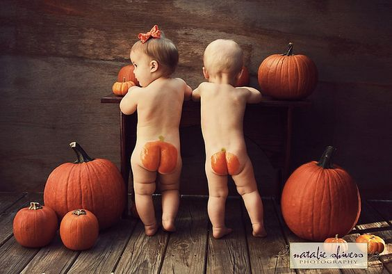 Pumpkin butts! Adorable! This is what I called my babies sometimes!