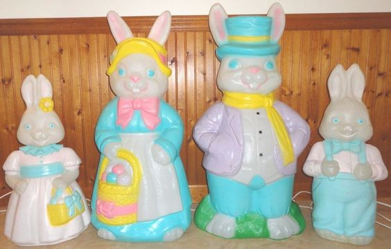 Lot of 4 mr mrs boy girl easter bunny rabbit blow mold - Light up easter decorations ...