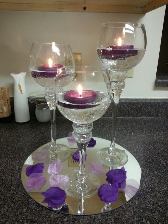 Purple wedding table centerpiece purple wedding Cheap table decoration ideas