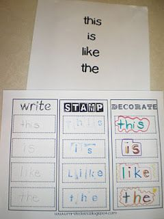 Maybe use this instead of my current word wall sheet. Need some alphabet stamps though... and I would add a sentence requirement on the bottom.  :)