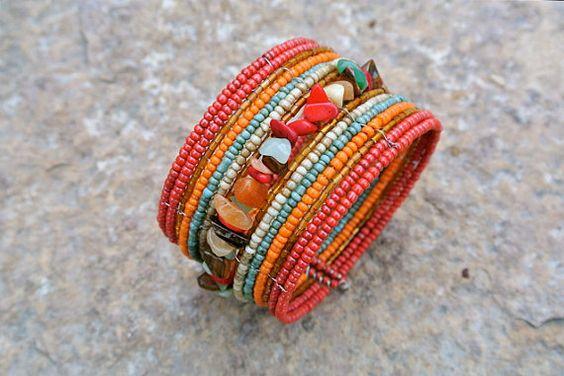 Beaded bracelet memory wire bracelet colorful and par KJBSilver, $18.00