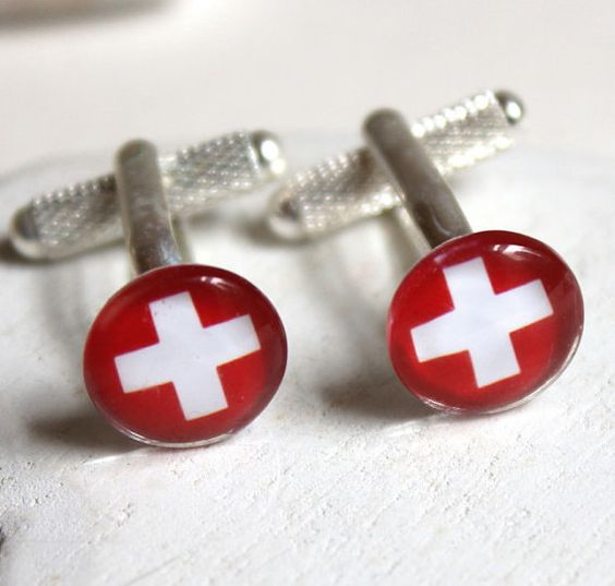 @Alethea Brooks Brooks Okonak  Swiss flag cufflinks swiss cuff links switzerland