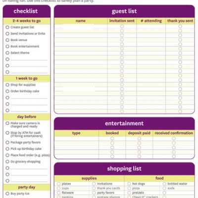 Birthday party checklist - free printable Party Ideas - free printable guest list