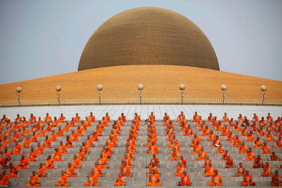 Buddhists monks attend a ceremony during Vesak Day, an annual celebration of Buddha's birth, enlightenment and death, at Wat Dharmmakaya in Pathum Thani province, on the outskirts of Bangkok May 17.
