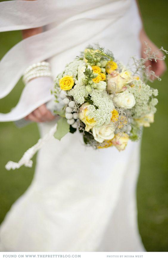 Yellow & green wedding bouquet | Photography: Moira West, Flowers: Saffron, Dress: Elbeth Gillis