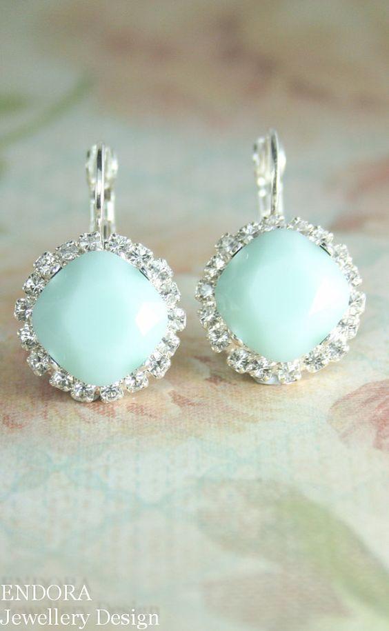 mint green opal crystal earrings | mint wedding | www.endorajewellery.etsy.com