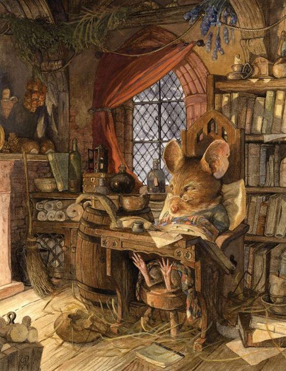 """ILLUSTRATION D'ANIMATION... LA SOURIS """"POPPY"""" s'endort dans sa bibliothèque Art par Chris Dunn!:"""