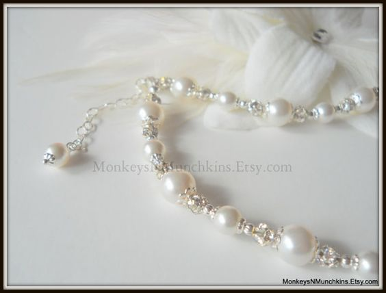 Silver Filligree Pearl and Fireball Necklace by MonkeysNMunchkins, $36.00