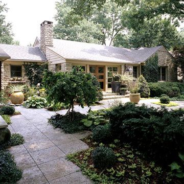 Ranch style home ideas gardens concrete pavers and for Front yard patio courtyard