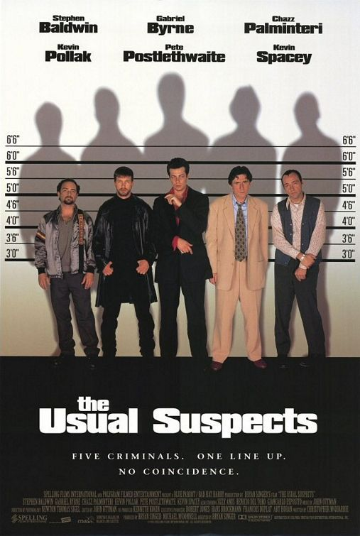 August 16th (1995): The Usual Suspects, Bryan Singer (dir).    A boat has been destroyed, criminals are dead, and the key to this mystery lies with the only survivor and his twisted, convoluted story beginning with five career crooks in a seemingly random police lineup.