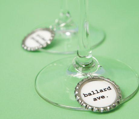 Seattle neighborhood wine-glass charms by clinks.etsy.com
