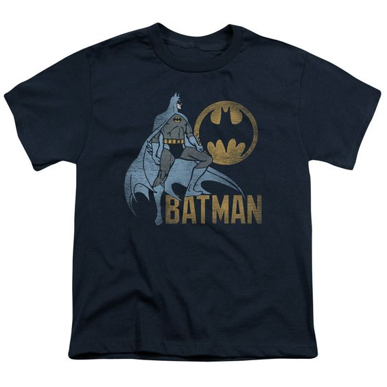 Batman Knight Watch Navy Youth T-Shirt