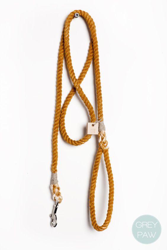 Rope dog lead dog collar pet supplies dog leash: Small rust cotton rope leash