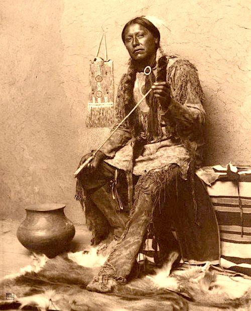 Carl Moon  |  Arrow-maker, Taos Pueblo, New Mexico  |  c. 1904-1907  |  Source: Huntington Digital Library