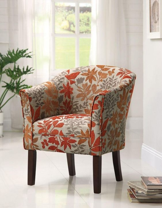Furniture, Red Leaves Floral Pattern Summer Accent Chairs Matching Pattern  Barrel Back Rest Tappered - Red And White Accent Chair Winda 7 Furniture