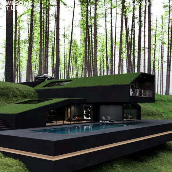 The Black Villa is a contemporary single-family house designed by architect Reza Mohtashami. It is an impressive piece of modern architecture. It sits in striking contrast with the surrounding greenery and hills. If the scenery looks familiar to you it is because the Black Villa is situated in Harriman State Park.