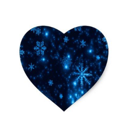 Deep Blue & Bright Snowflakes Heart Sticker - christmas craft supplies cyo merry xmas santa claus family holidays