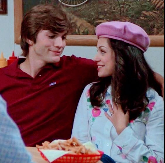 Mila Kunis and Ashton Kutcher ( In character Jackie Burkhart and Michael Kelso ) That 70's Show ( 2003 ) shared to groups 2/7/19