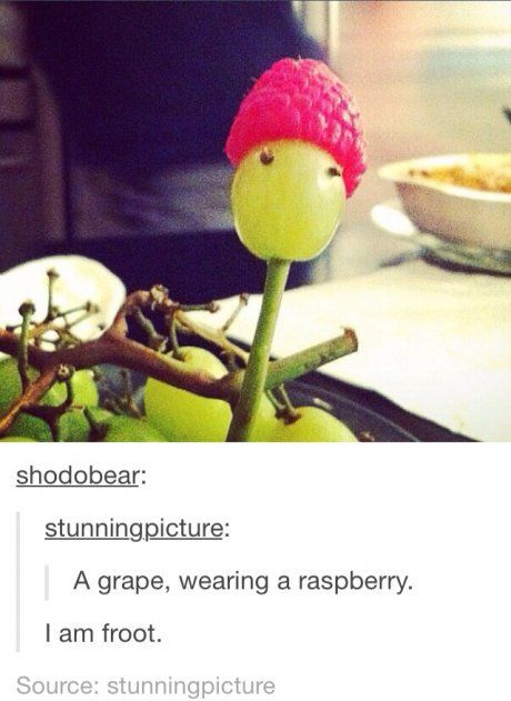 I am Froot. Omg this is amazing. We should make a movie about this! Who put grape sticks up there butts? Hahaha. Comment!: