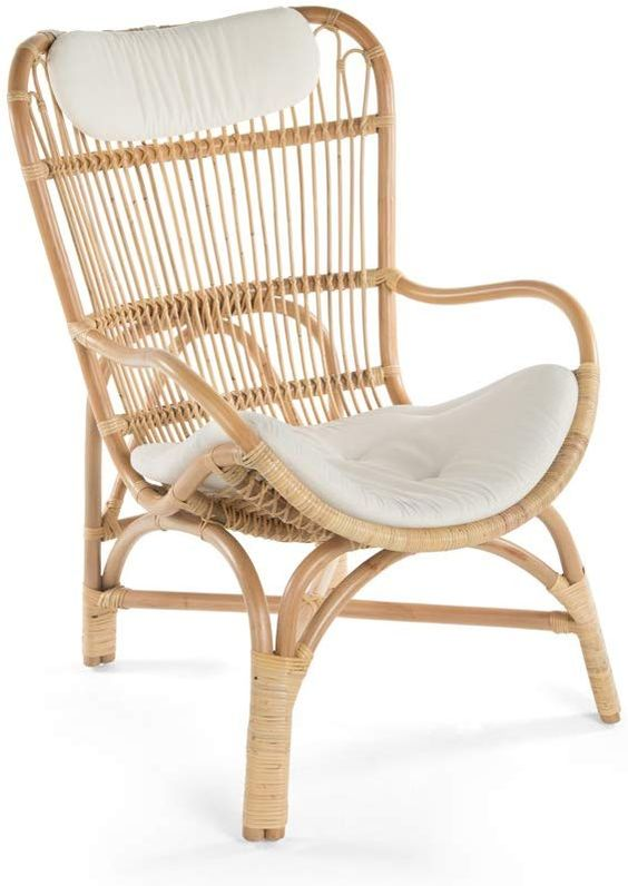 Amazon.com: KOUBOO Rattan Loop Lounge Chair with Seat and Head Cushion, Natural Color, Large,: Home & Kitchen