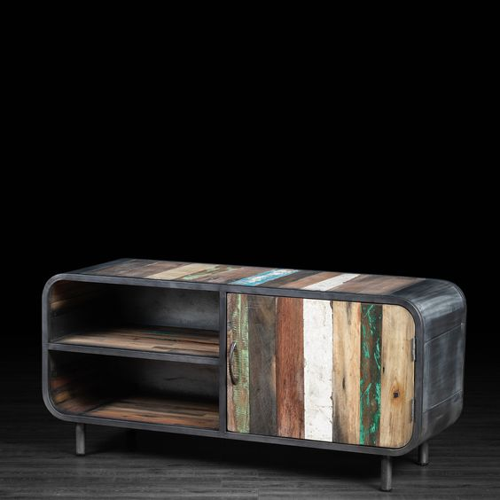Meuble télévision 1 porte et 2 tablettes en métal et bois recyclé de vieux bateaux