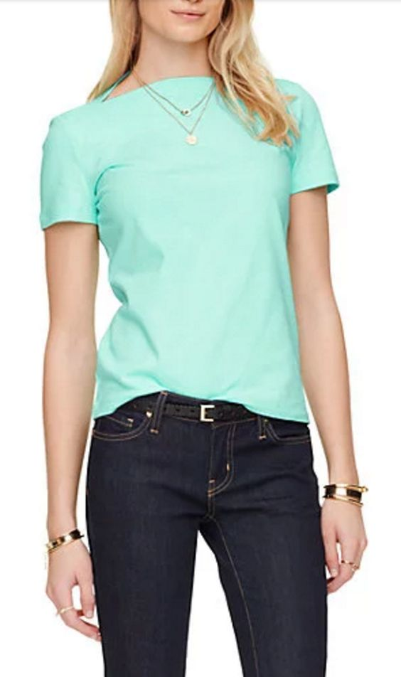 Inverted Scoop Neck Tailored T-shirt in Aqua