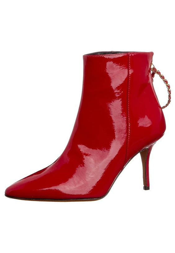 Moschino Cheap & Chic red patent leather low boots