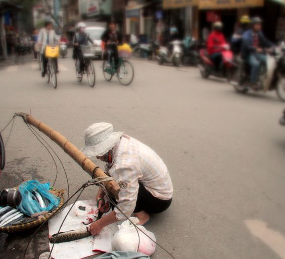 Fishmonger plying her trade on the streets of Hanoi